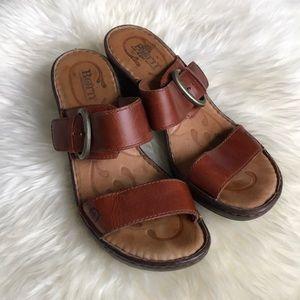 Born 2 Strap Cognac Leather Block Heel Sandal